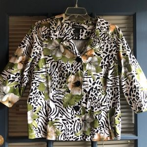 Lane Bryant leopard and flower print jacket